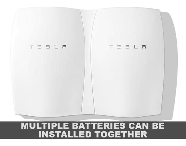 Multiple Powerwalls can be installed together inline.